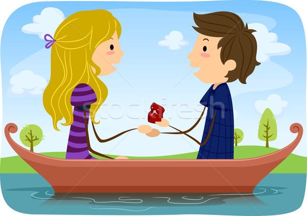 Bruiloft voorstel illustratie man huwelijk vriendin Stockfoto © lenm