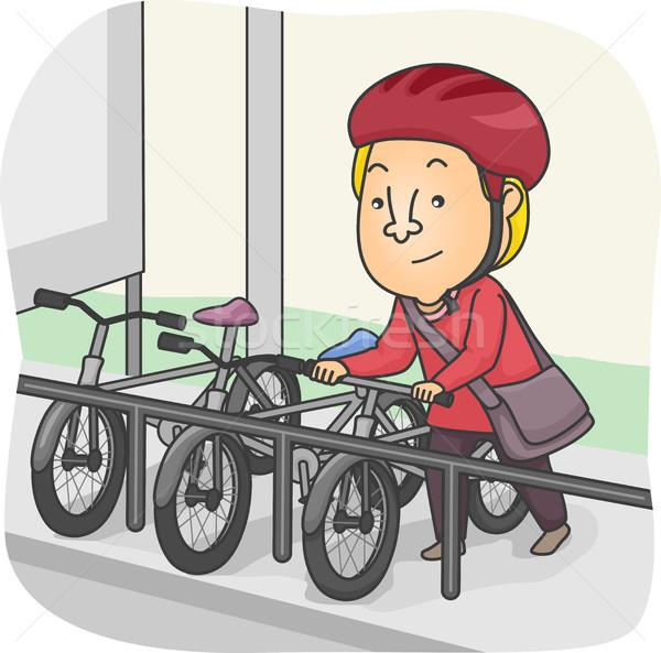 Man fiets parkeren illustratie fiets parkeerplaats Stockfoto © lenm