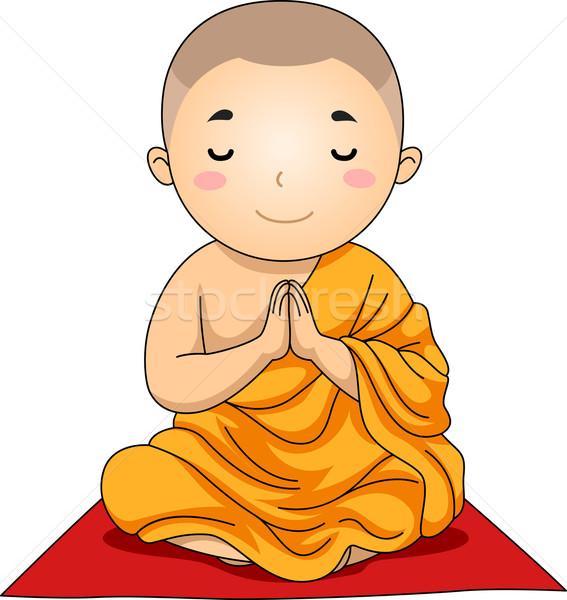 Criança menino budista rezar ilustração pequeno Foto stock © lenm