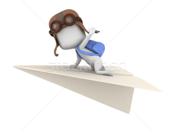 Stockfoto: Papier · vliegtuig · 3d · illustration · kid · paardrijden · kind