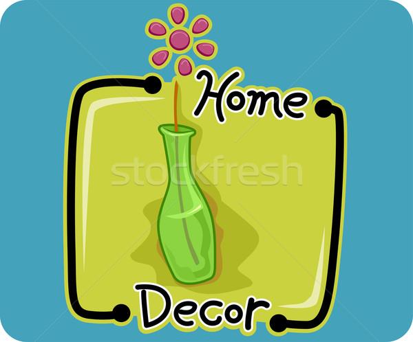 Lakberendezés ikon illusztráció háló váza vektor Stock fotó © lenm