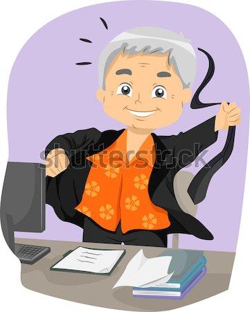 Senior Writing Stock photo © lenm
