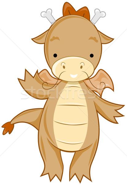 Sevimli ejderha karikatür örnek simge Stok fotoğraf © lenm