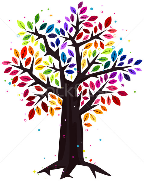 Rainbow arbre design couleurs Photo stock © lenm