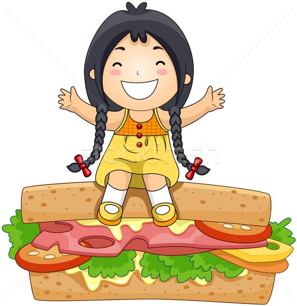 Girl on Sandwich Stock photo © lenm