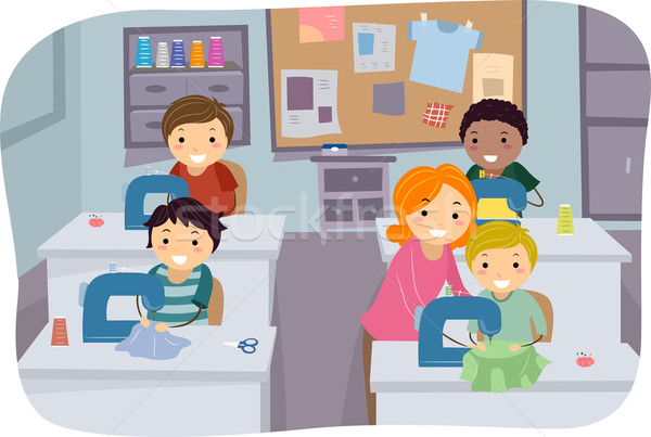 Varr osztály fiúk illusztráció kicsi tanul Stock fotó © lenm