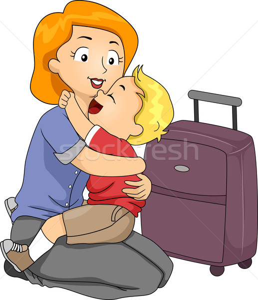 Vaarwel knuffel illustratie weinig jongen moeder Stockfoto © lenm