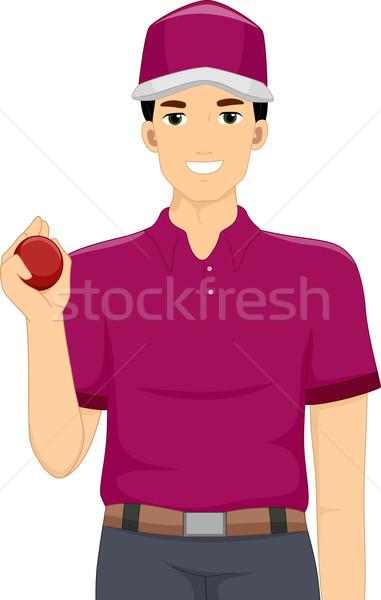 Kriket top atan oyuncu örnek adam top oynamak Stok fotoğraf © lenm