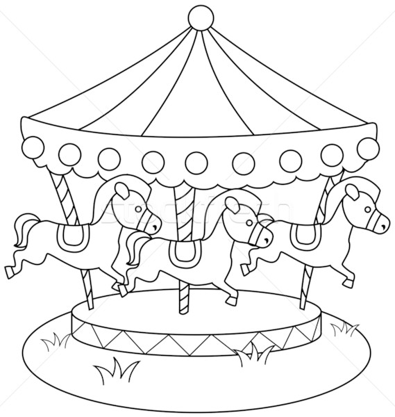 Stock photo: Line Art Merry Go Round