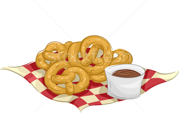 Bretzels illustration tasse chocolat Photo stock © lenm