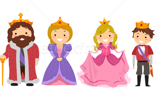 Stickman Kids Royal Family Costume Stock photo © lenm