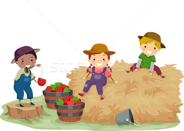 Stickman Kids Hay Apples Stock photo © lenm
