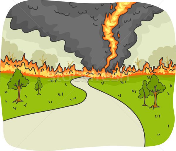 Tornádó tűz illusztráció vidéki út tájkép kilátás Stock fotó © lenm