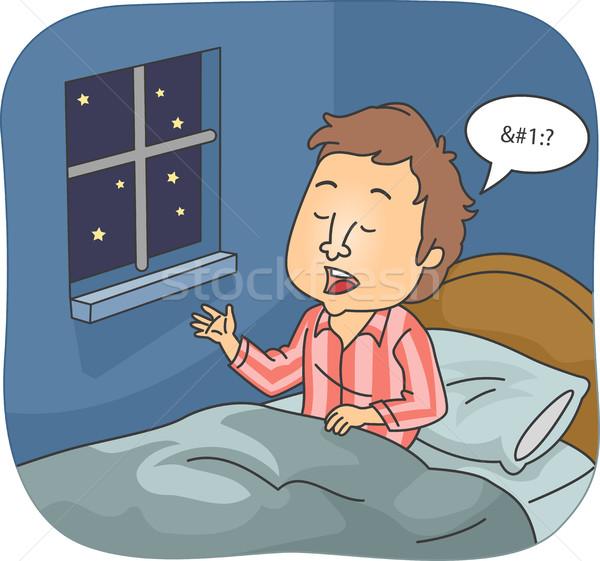Man Sleep Talk Stock photo © lenm