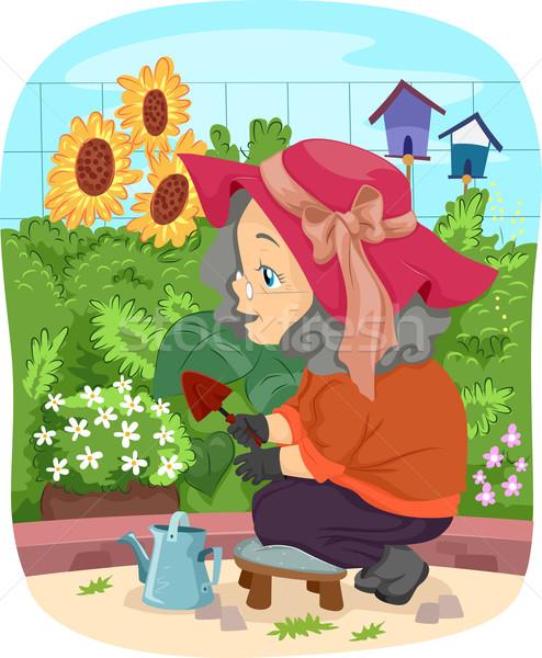 Foto stock: Senior · mulher · jardinagem · flores · ilustração