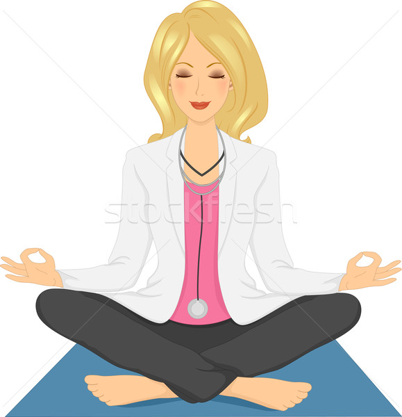 Menina médico ioga medicina alternativa ilustração confortável Foto stock © lenm