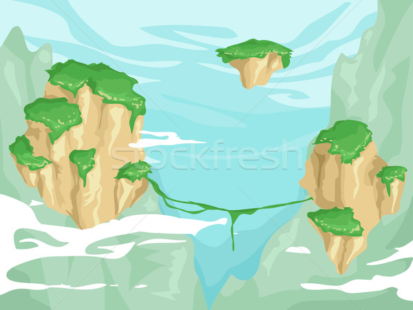 Flutuante ilustração luxuriante vegetação topo Foto stock © lenm