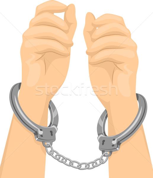 Hand illustratie paar handen gevangenis criminaliteit Stockfoto © lenm