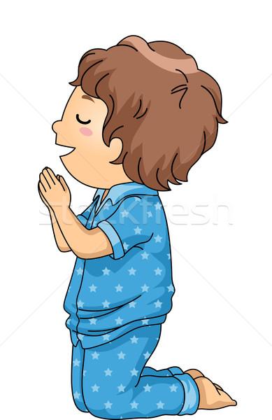 çocuk Erkek Dua örnek Pijama Dua Eden Vektör