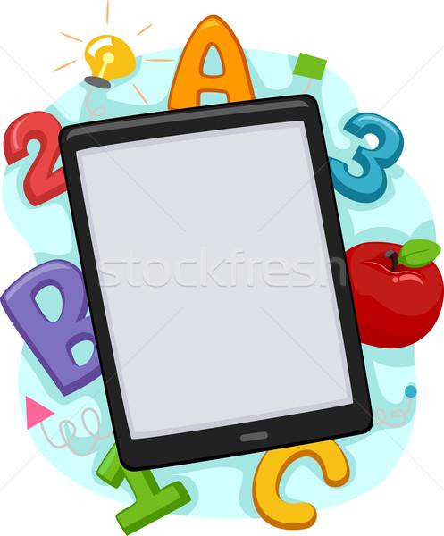 Manzana tableta ilustración cartas números Foto stock © lenm