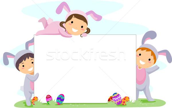 Húsvét nyuszi  gyerekek játszik lány Stock fotó © lenm