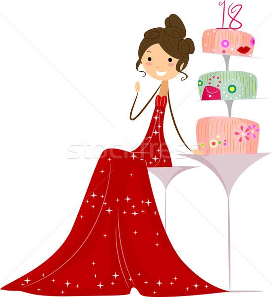 Torta illusztráció ül lány buli születésnap Stock fotó © lenm