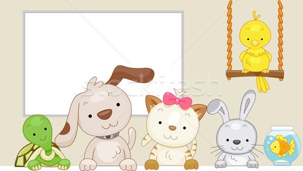 Mascotas cute ilustración sesión lado aves Foto stock © lenm