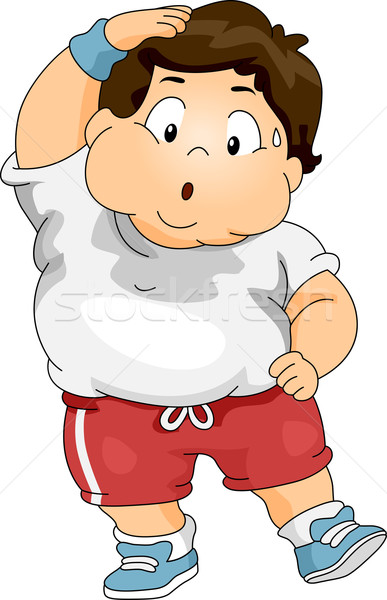 Overweight Boy Exercising Stock photo © lenm