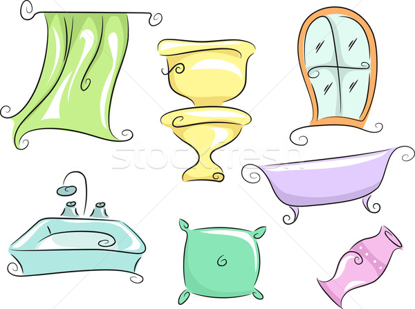 Maison mobilier illustration douche rideau toilettes Photo stock © lenm