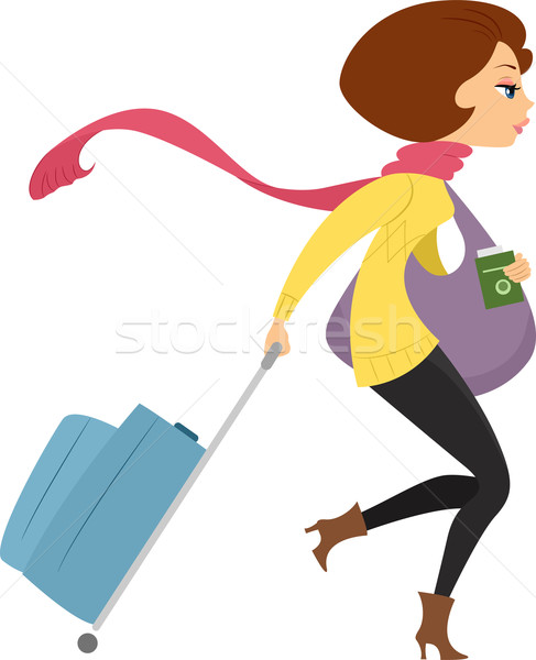 Girl Traveling on Winter Stock photo © lenm