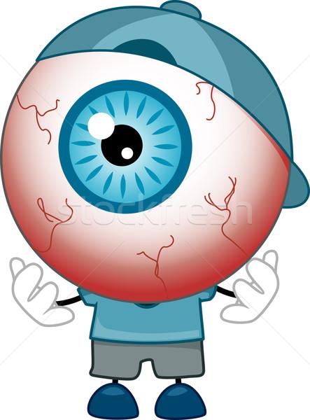 Globo ocular mascote ilustração azul camisas Foto stock © lenm