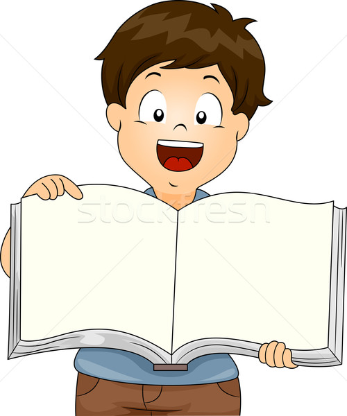 Gyerek fiú nyitva könyv illusztráció tart Stock fotó © lenm