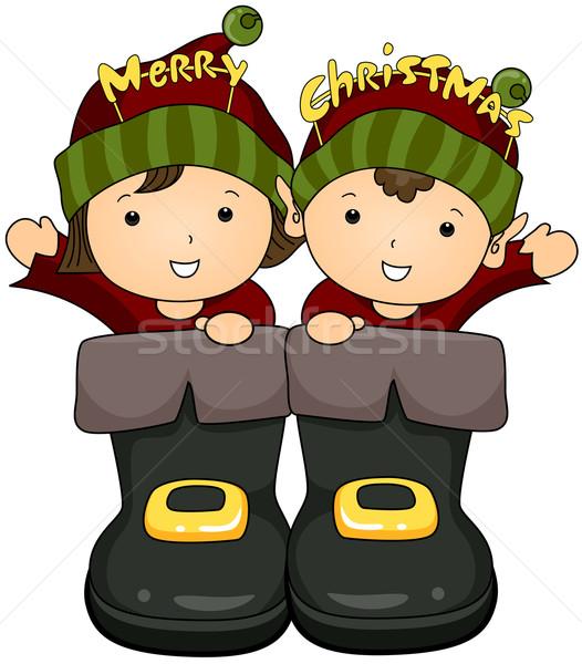 ストックフォト: クリスマス · サンタクロース · ブーツ · 芸術 · 漫画