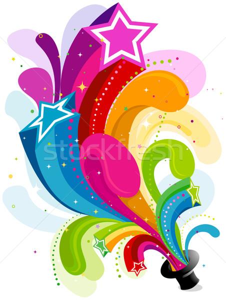 Estrela arco-íris trilha estrelas magia seis Foto stock © lenm