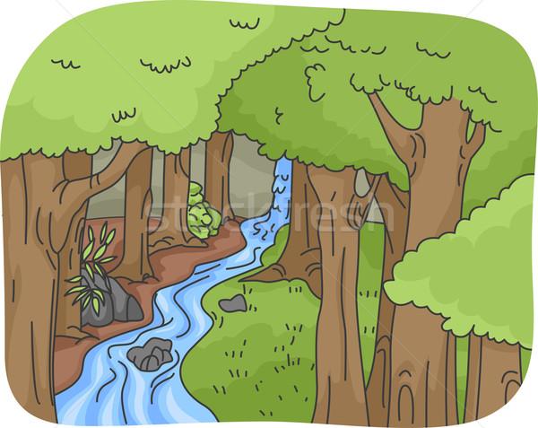 леса иллюстрация воды дизайна зеленый работает Сток-фото © lenm