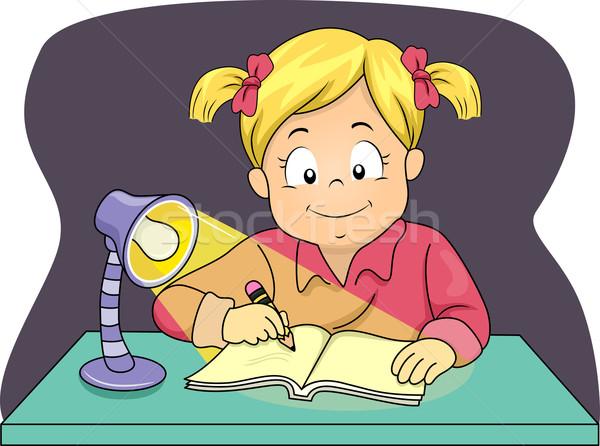 éjszaka tanulás illusztráció kislány lámpa lány Stock fotó © lenm