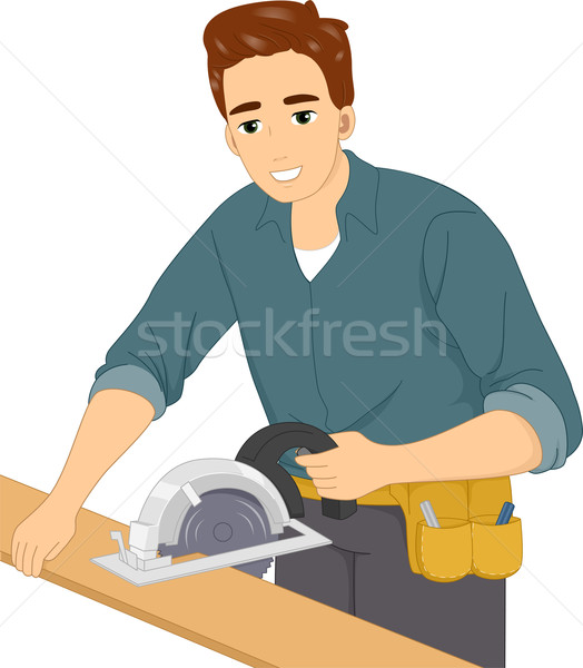 Zag illustratie man werk mannelijke Stockfoto © lenm