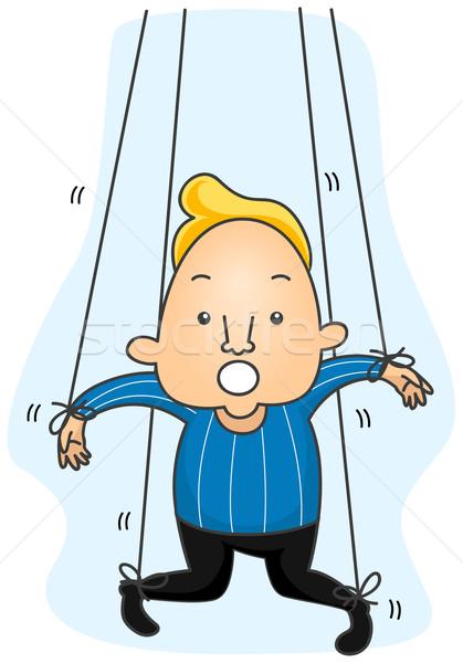 человека марионеточного Cartoon строку контроль Сток-фото © lenm