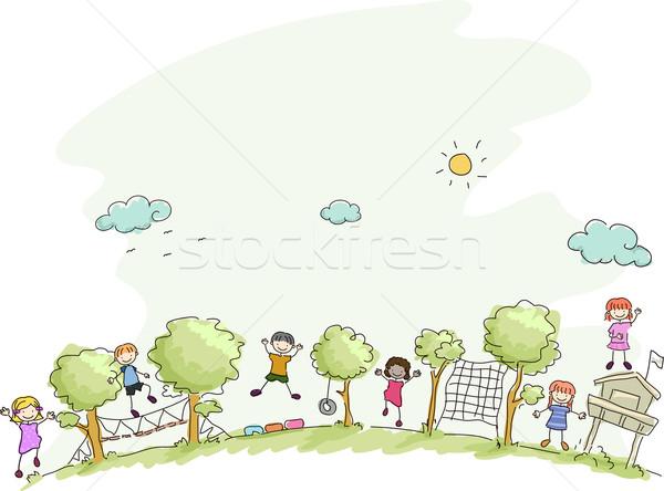 Campamento de verano ilustración ninos jugando nina nino amigos Foto stock © lenm