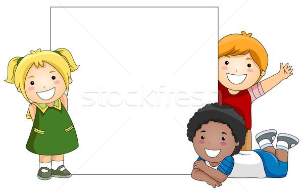 çocuklar tahta beyaz kız çocuklar Afrika Stok fotoğraf © lenm