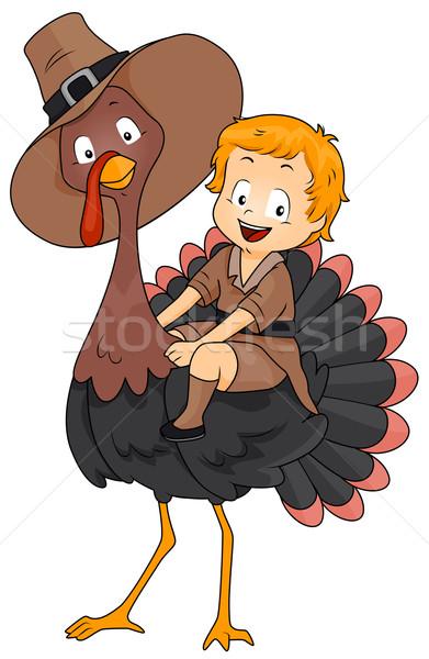 Ringraziamento Turchia illustrazione ragazzo pellegrino costume Foto d'archivio © lenm