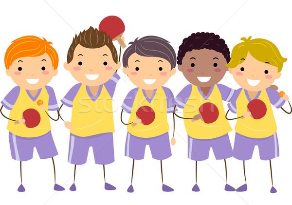Ragazzi tennis da tavolo ragazzi illustrazione piccolo Foto d'archivio © lenm