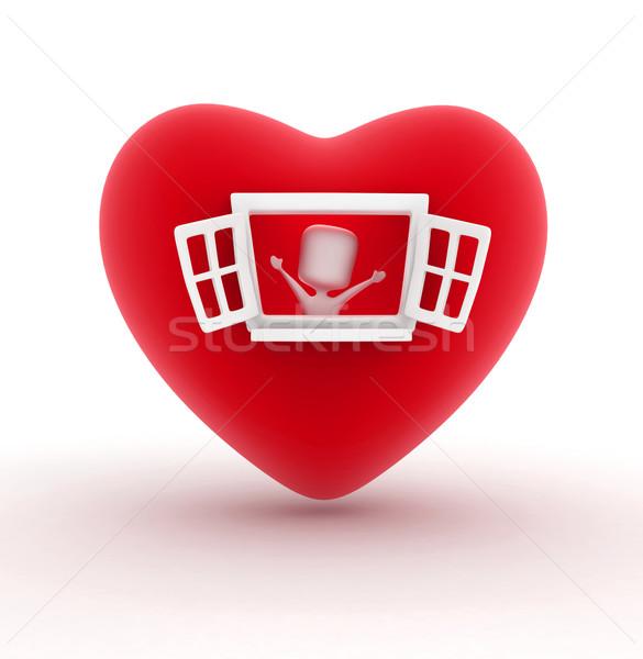 человека открытие окна сердце 3d иллюстрации любви Сток-фото © lenm