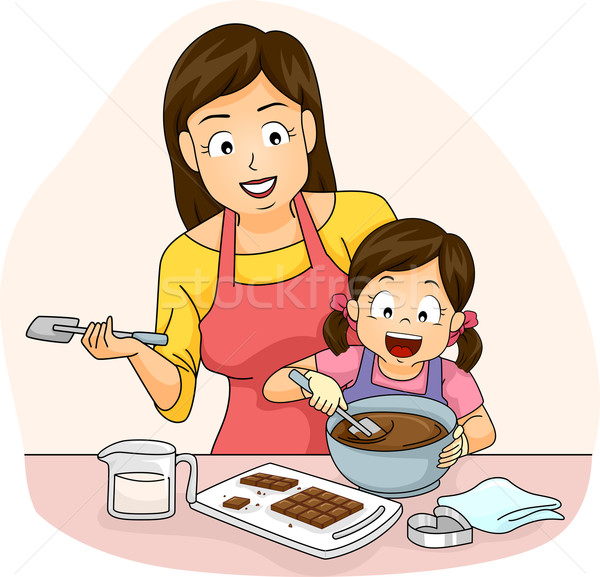 Kid Girl Mom Chocolate Stock photo © lenm
