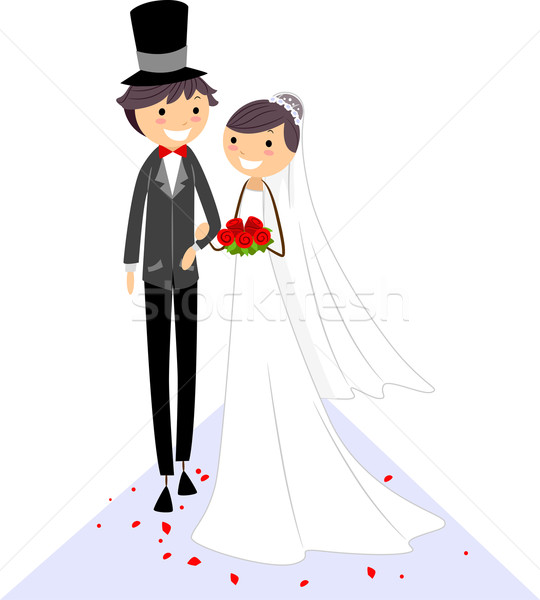 свадьба проход иллюстрация невеста жених ходьбе Сток-фото © lenm