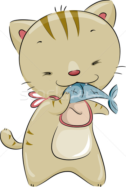 Chat manger poissons illustration cute Photo stock © lenm