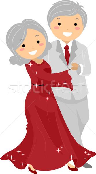 Senior Couple Ballroon Dancing Stickman Stock photo © lenm
