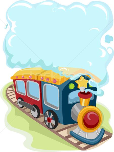 Locomotive train jouet illustration fond cadre Photo stock © lenm