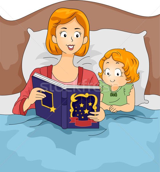 örnek anne okuma aile çocuk Stok fotoğraf © lenm