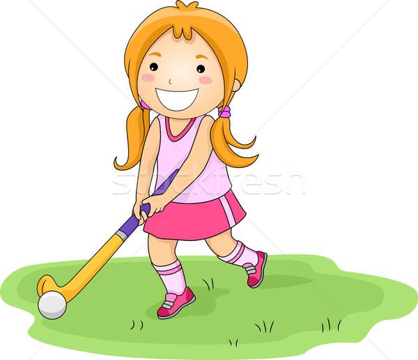 Illustration petite fille jouer fille sport Photo stock © lenm